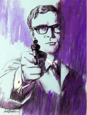 Michael Caine as Harry Palmer Illustration by Terence J Gilbert Gouache on Board