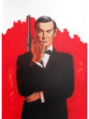 Sean Connery as James Bond Illustration by Terence J Gilbert Mixed Media
