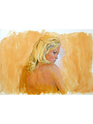 Ursula Andress Illustration by Terence J Gilbert Gouache on Board