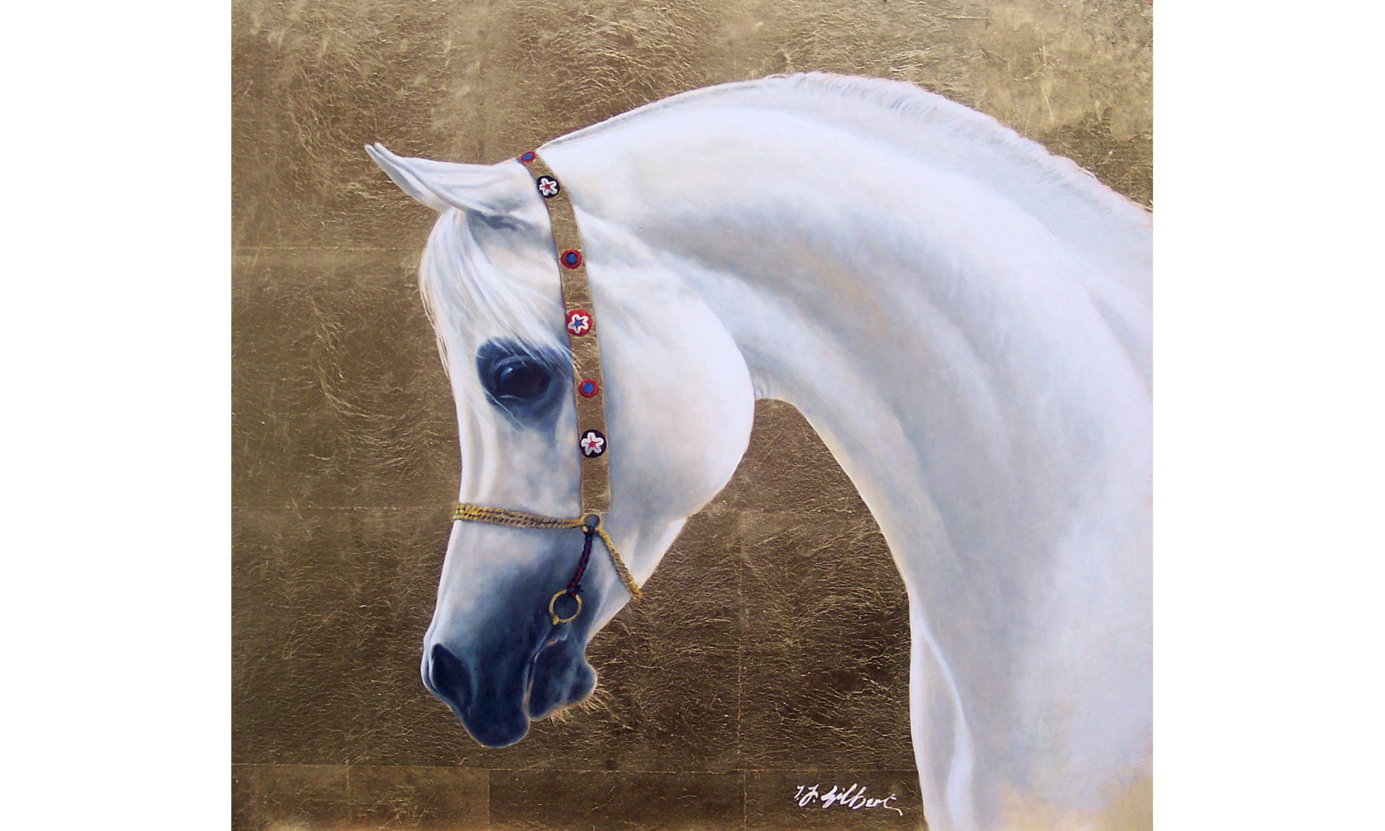 Arabian Horse Head Painting by Terence J Gilbert Oil on Gold