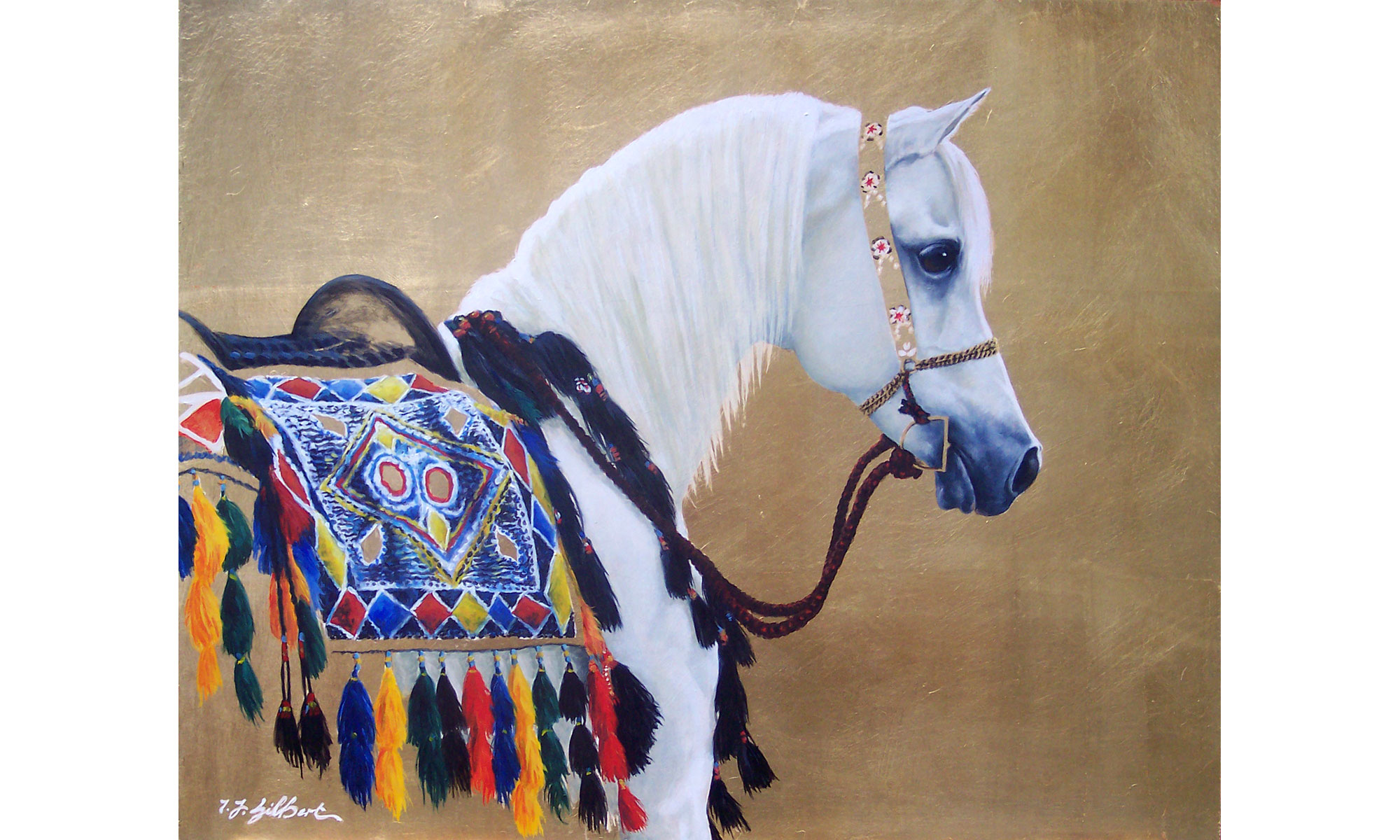 Arabian Horse Painting by Terence J Gilbert Oil on Gold