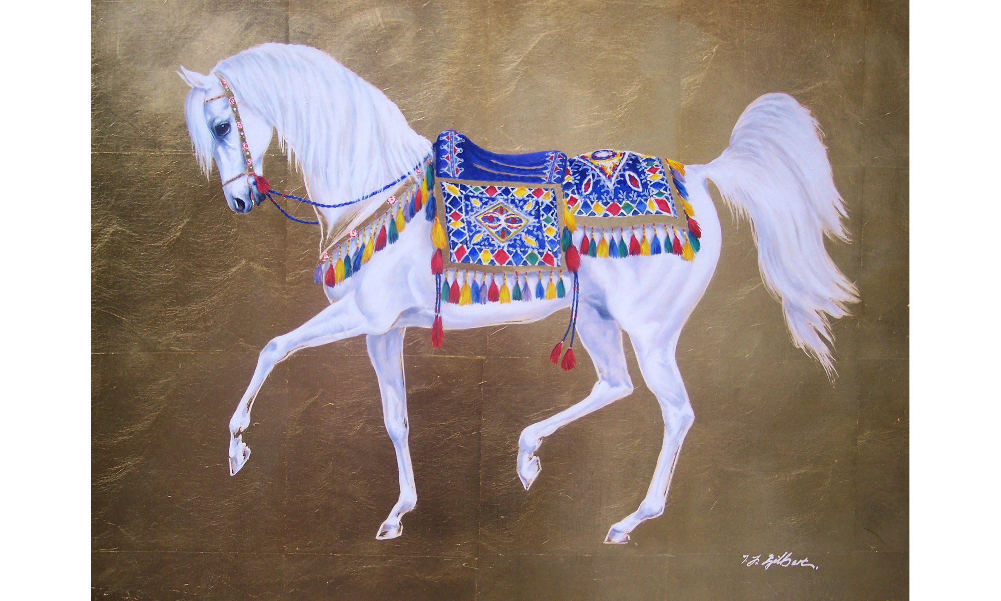 Arabian White on Gold Horse Painting by Terence J Gilbert Oil on Gold