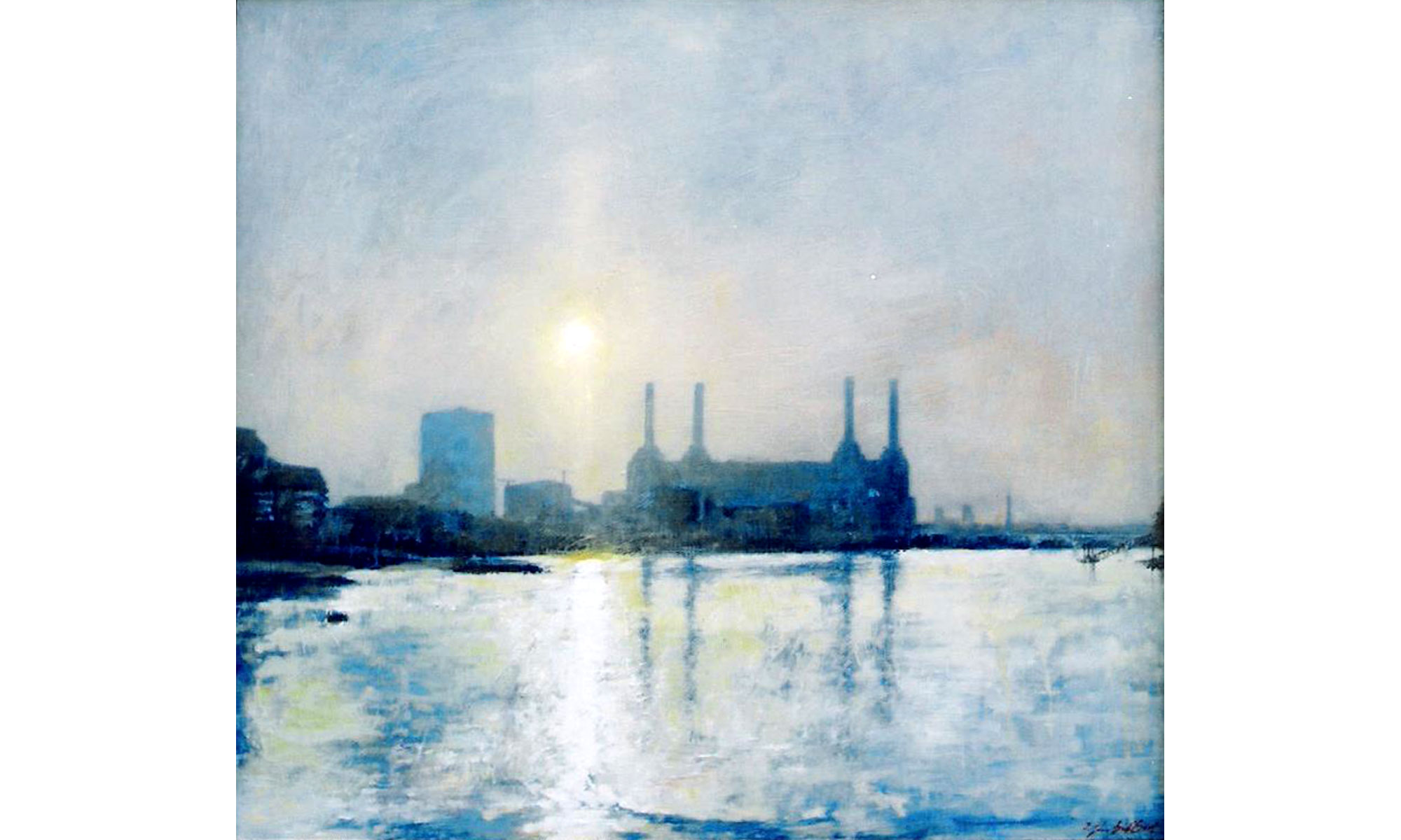 Battersea Afternoon Painting by Terence J Gilbert Oil on Board