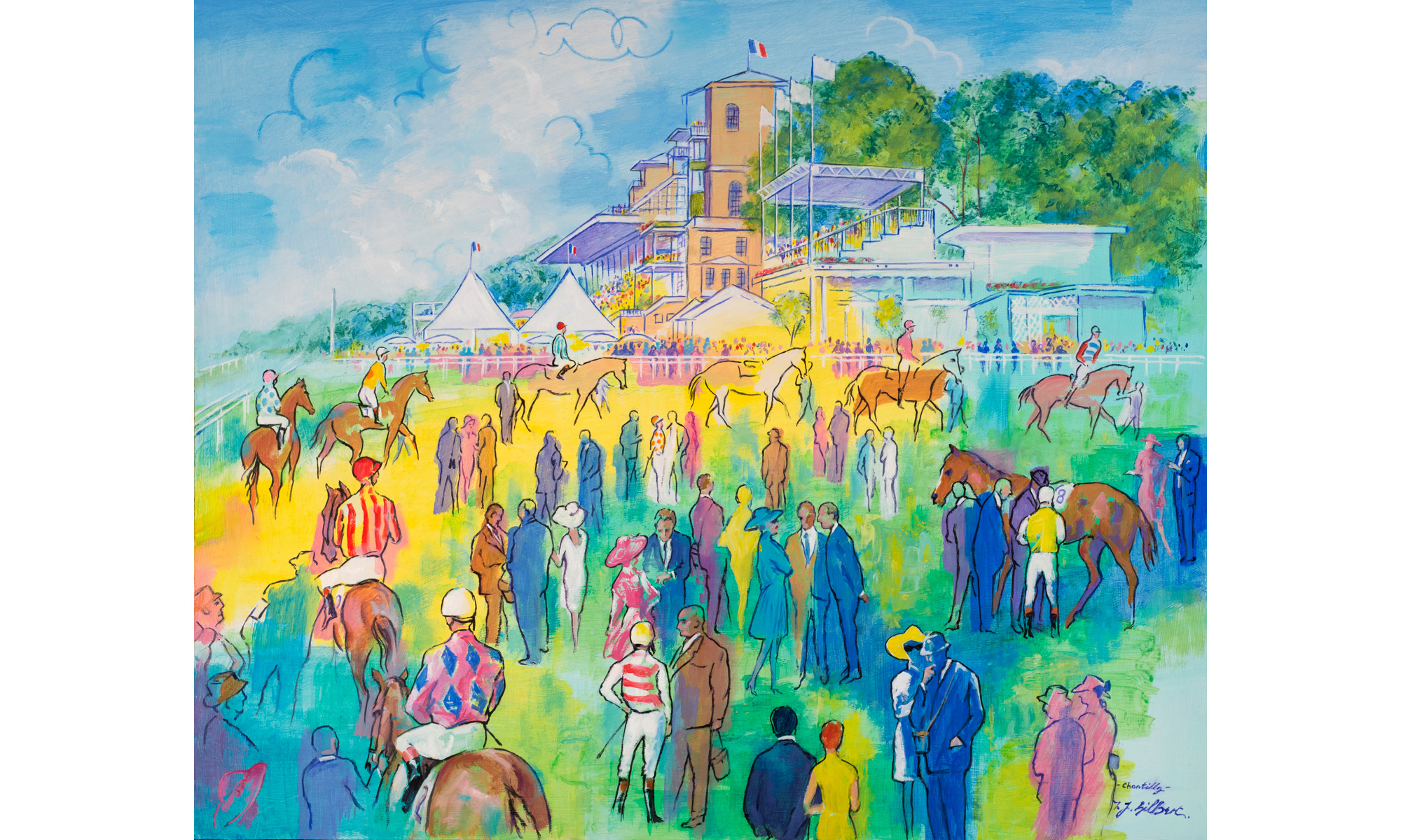 Chantilly Horse Racing Painting by Terence J Gilbert Oil on Board