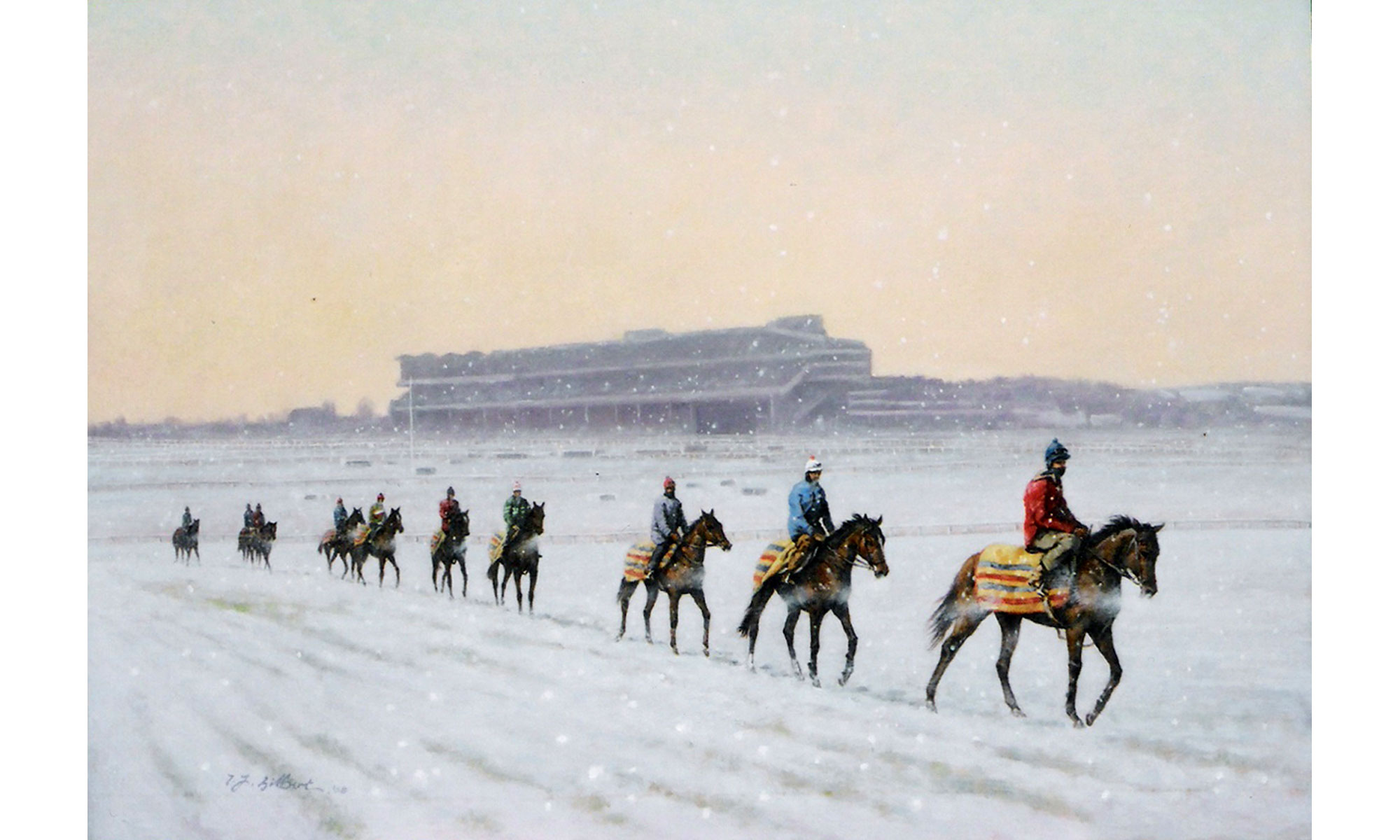 Cheltenham Christmas Painting by Terence J Gilbert Oil on Board
