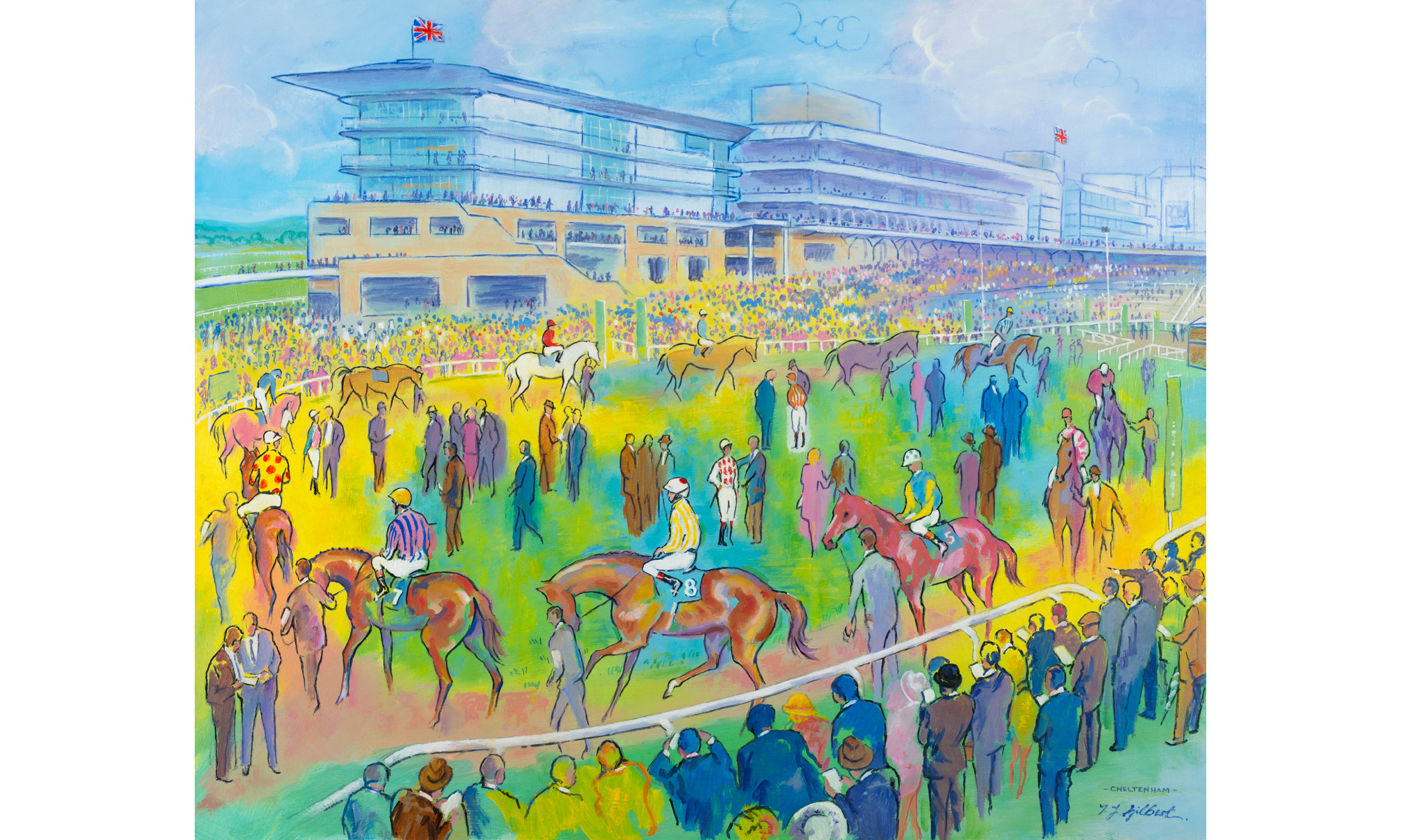Cheltenham Horse Racing Painting by Terence J Gilbert Oil on Board