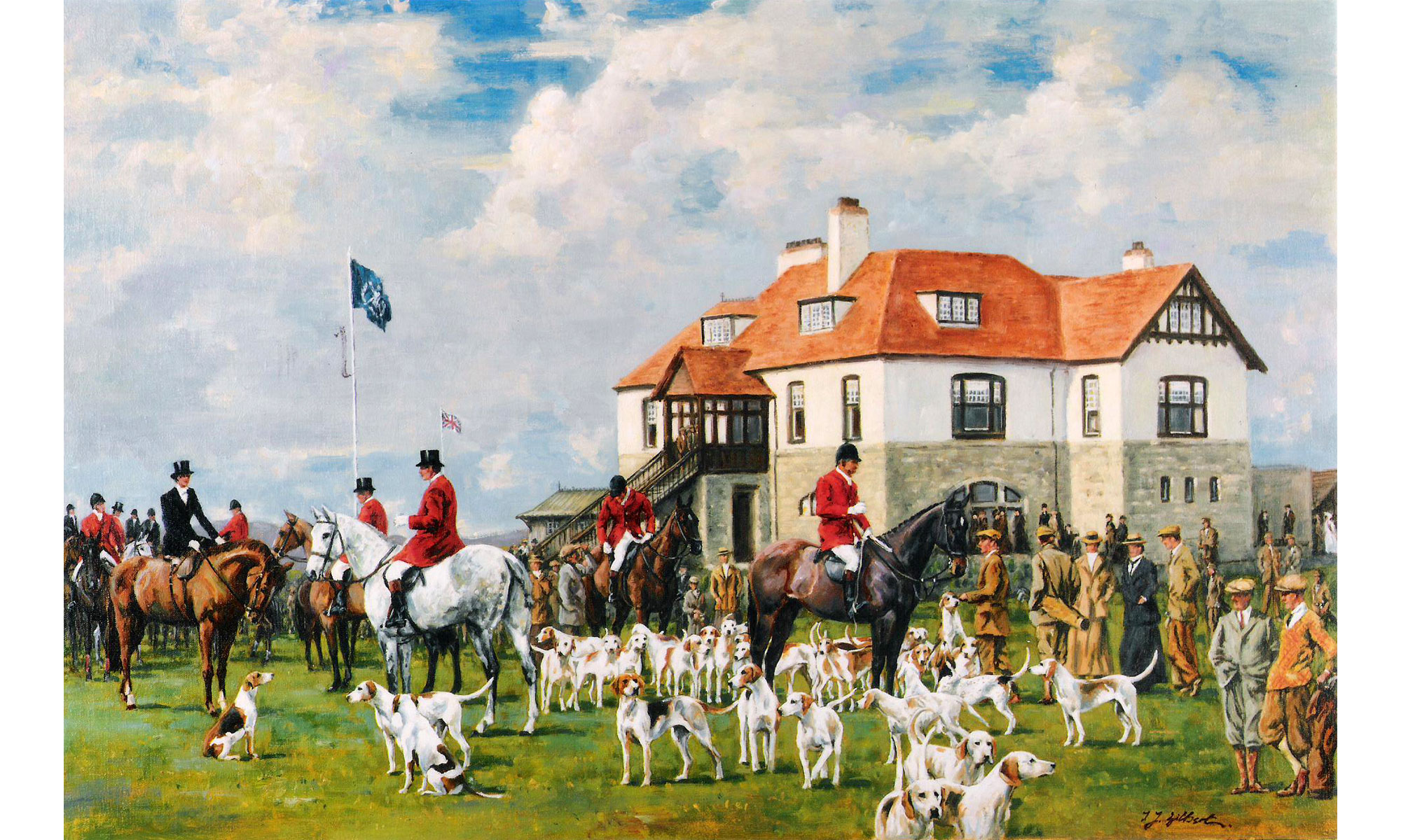 County Down Golf Club Hunting Painting by Terence J Gilbert Oil on Canvas