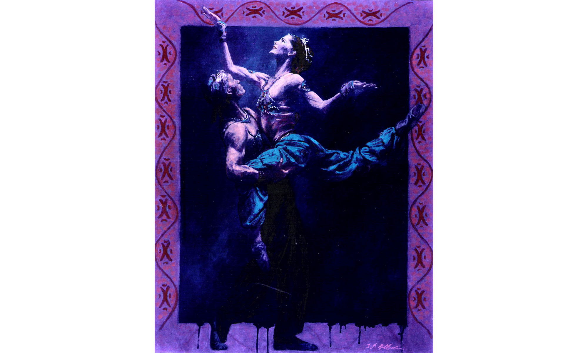 Darcey Bussell, Scheherazade Painting by Terence J Gilbert Oil on Board