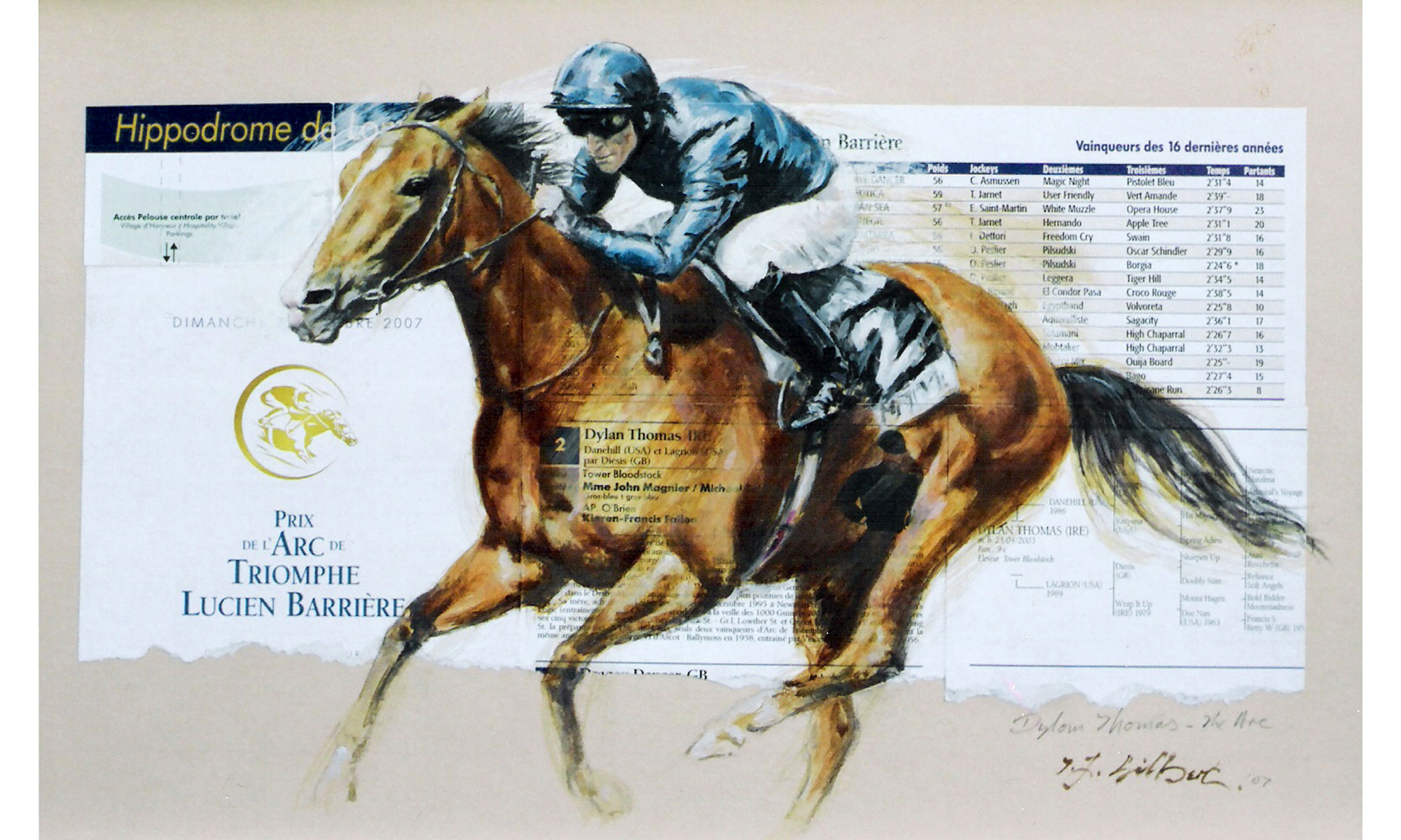 Dylan Thomas Horse Racing Painting by Terence J Gilbert Oil on Board
