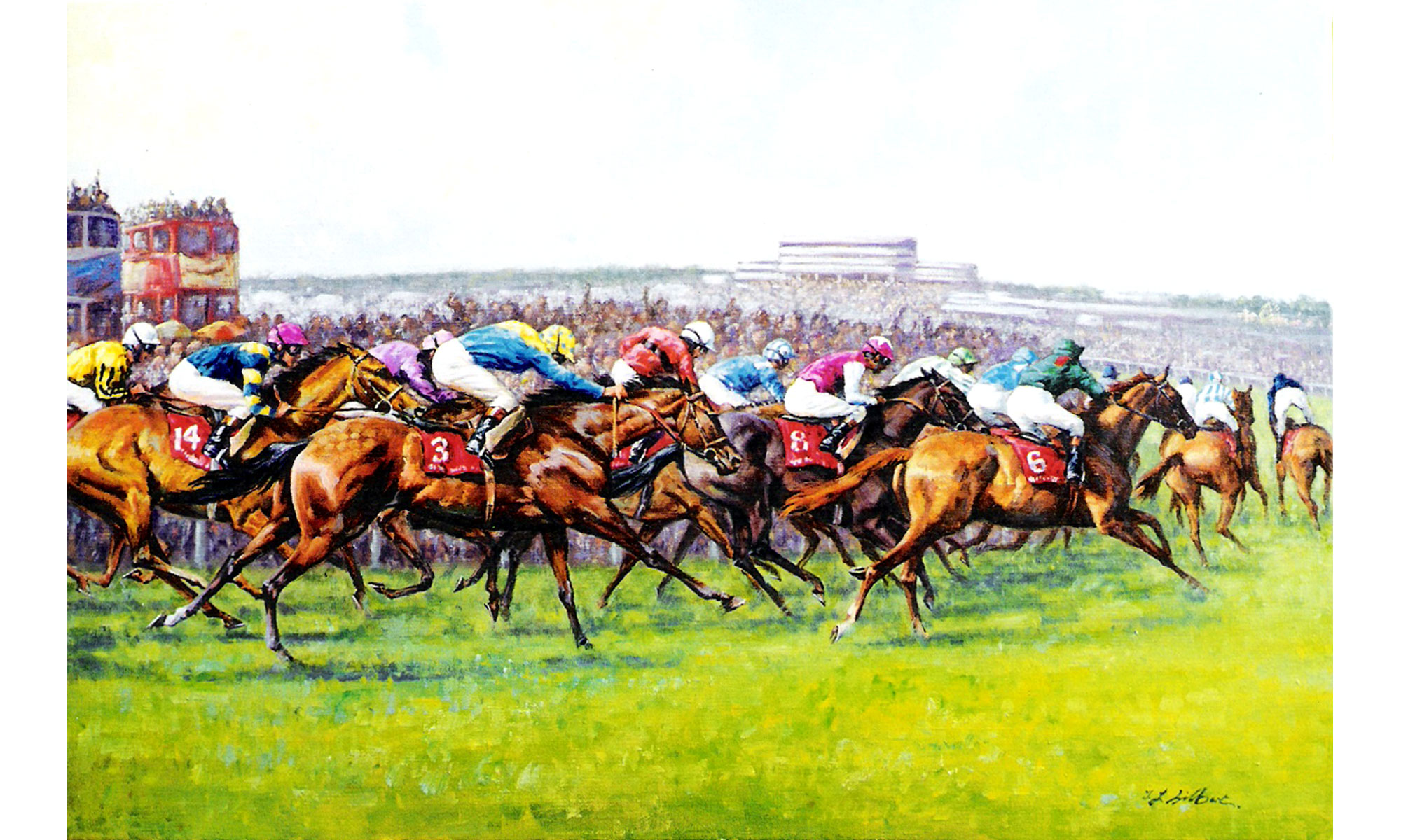 Epson Derby Painting by Terence J Gilbert Oil on Board