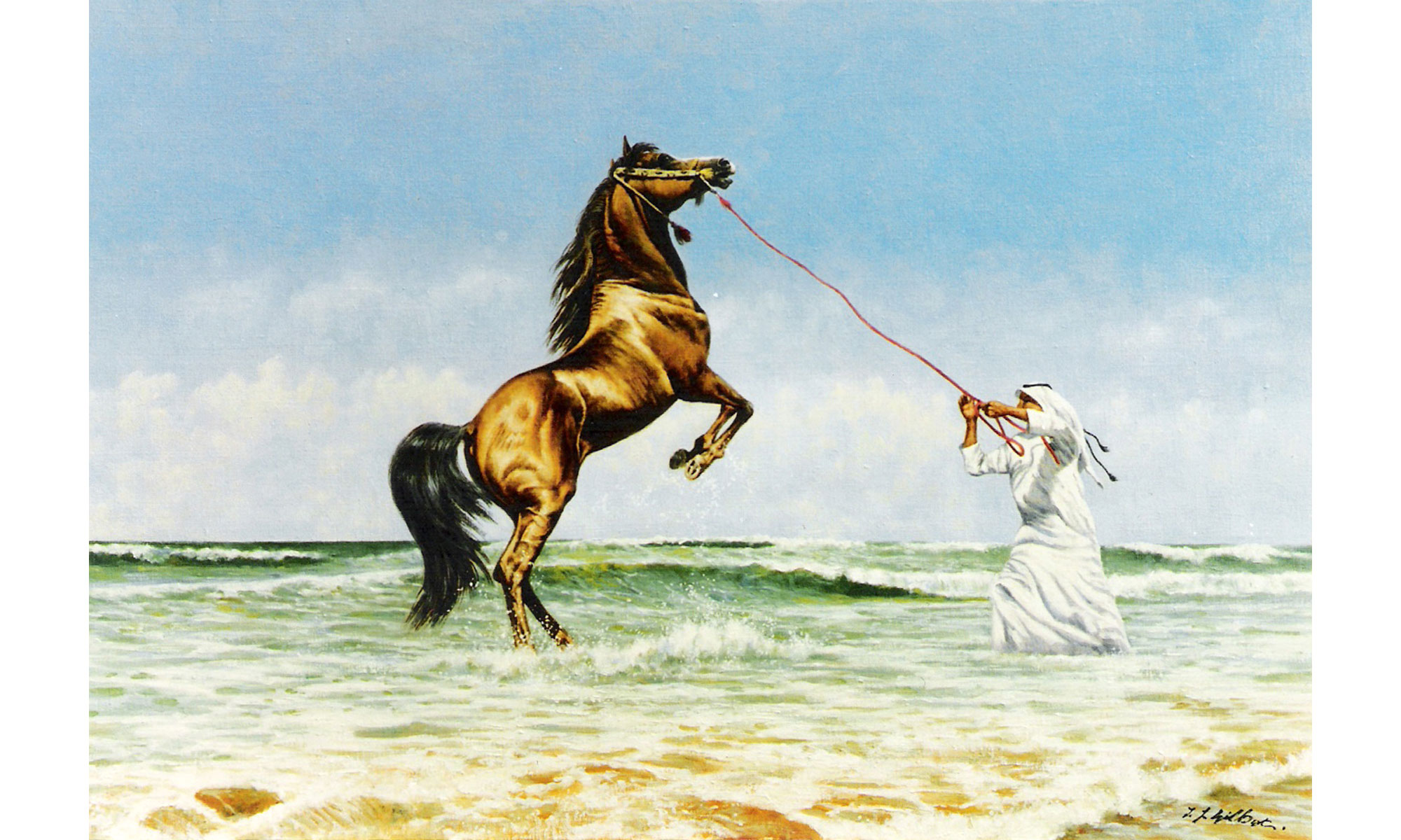 Exercise Arab Horse Painting by Terence J Gilbert Oil on Board