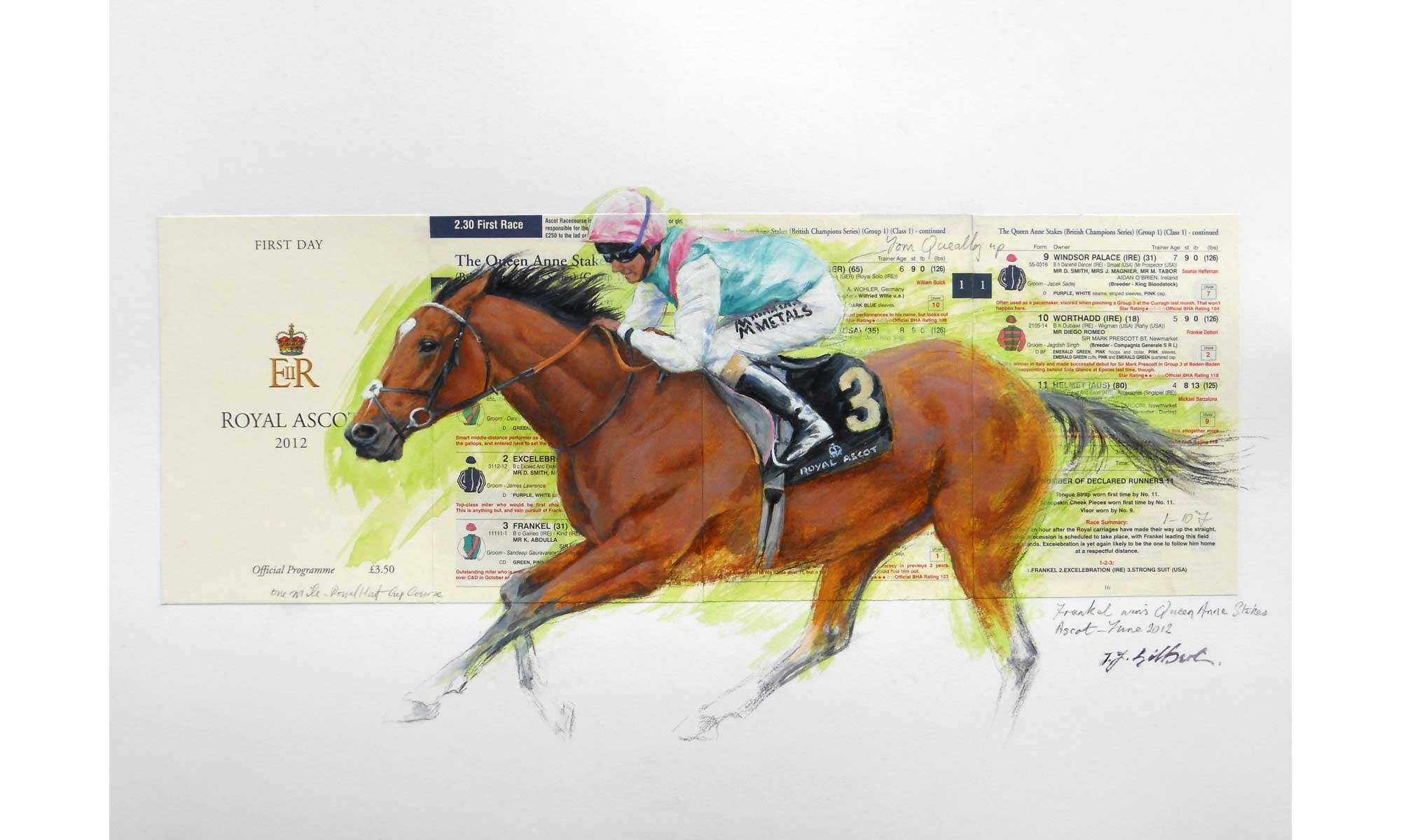 Frankel Horse Racing Painting by Terence J Gilbert Oil on Board