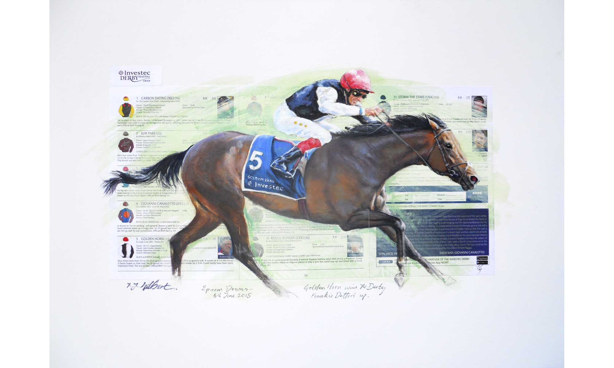 Golden Horn Horse Racing Painting by Terence J Gilbert Oil on Board