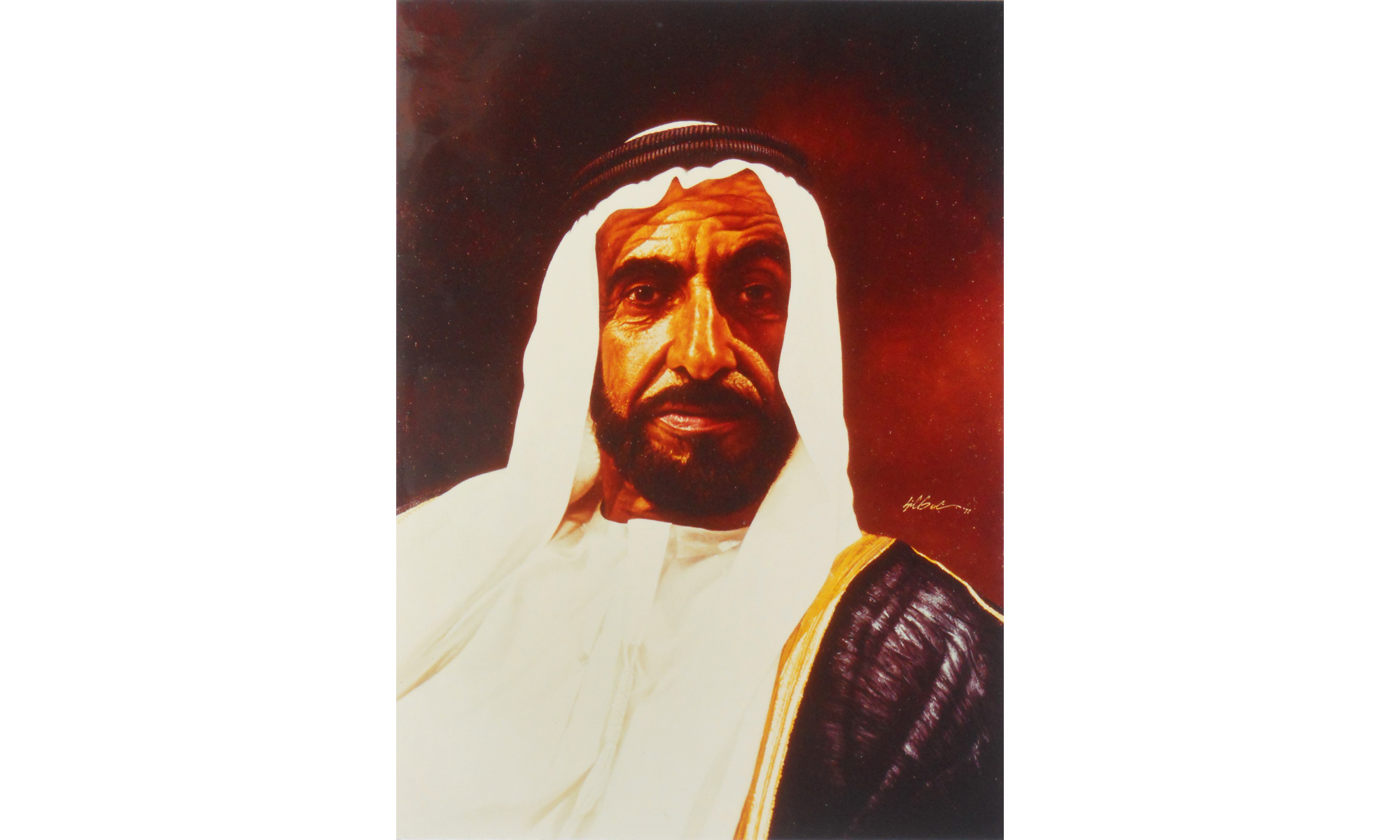 H.H. Sheikh Zayed Painting by Terence J Gilbert Oil on Board