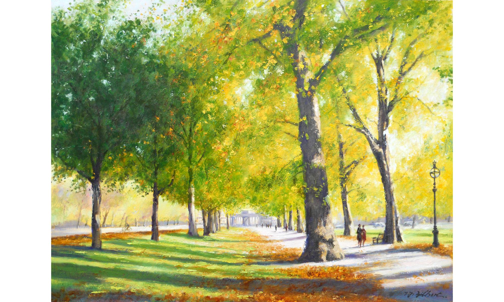 Hyde Park, Autumn Painting by Terence J Gilbert Oil on Board