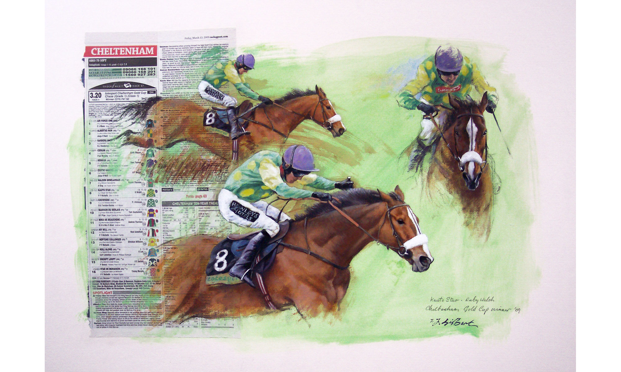 Kauto Star Horse Racing Painting by Terence J Gilbert Oil on Board