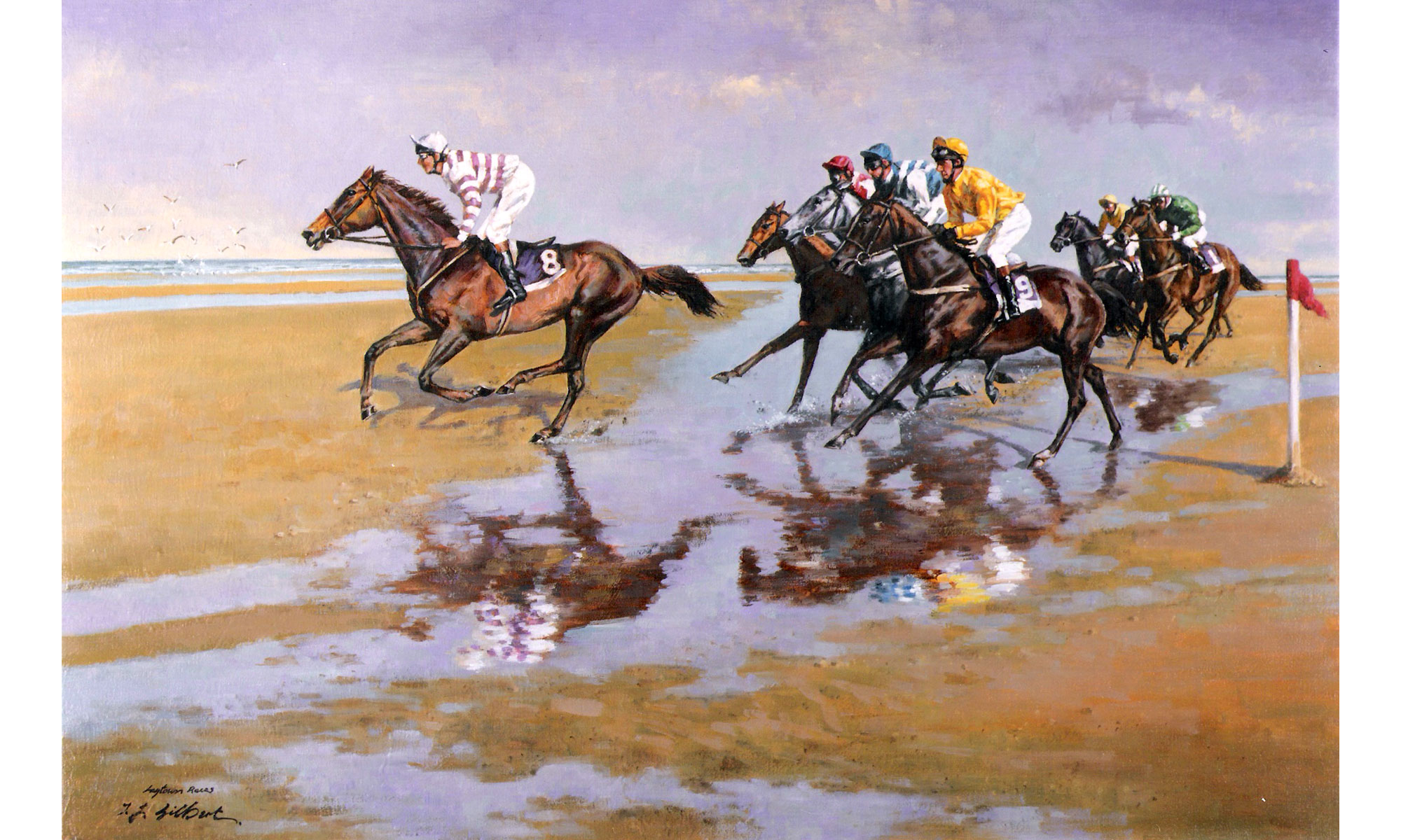 Laytown Horse Races Painting by Terence J Gilbert Oil on Board