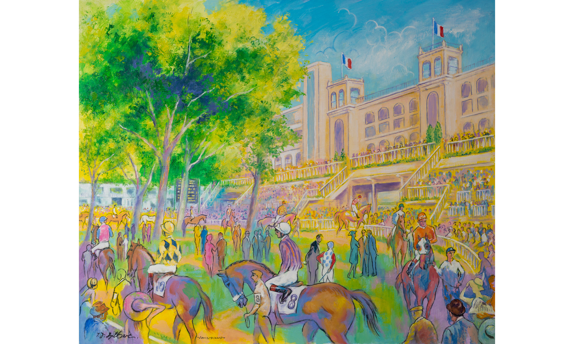 Longchamp Racing Painting by Terence J Gilbert Oil on Board