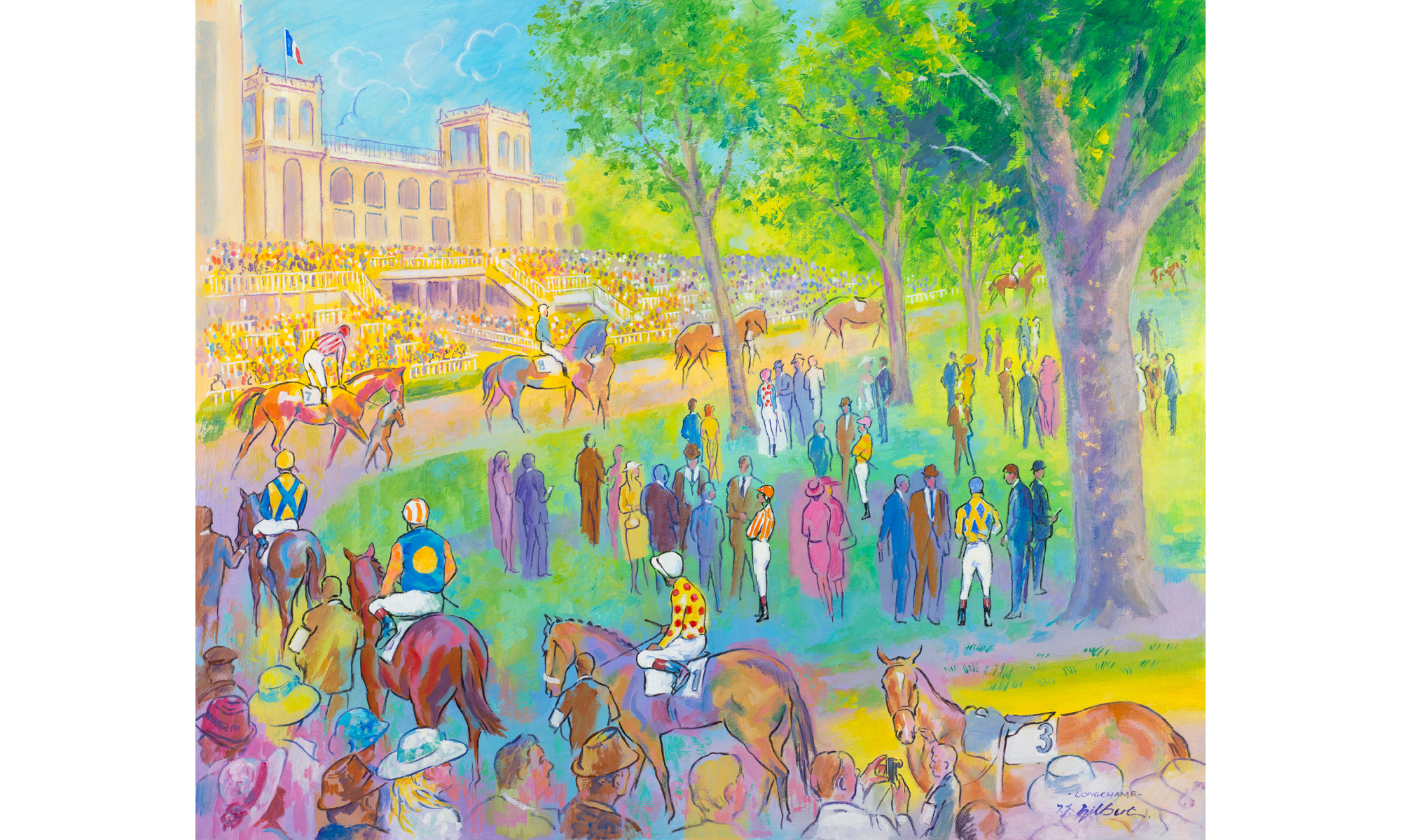 Longchamp Horse Racing Painting by Terence J Gilbert Oil on Board