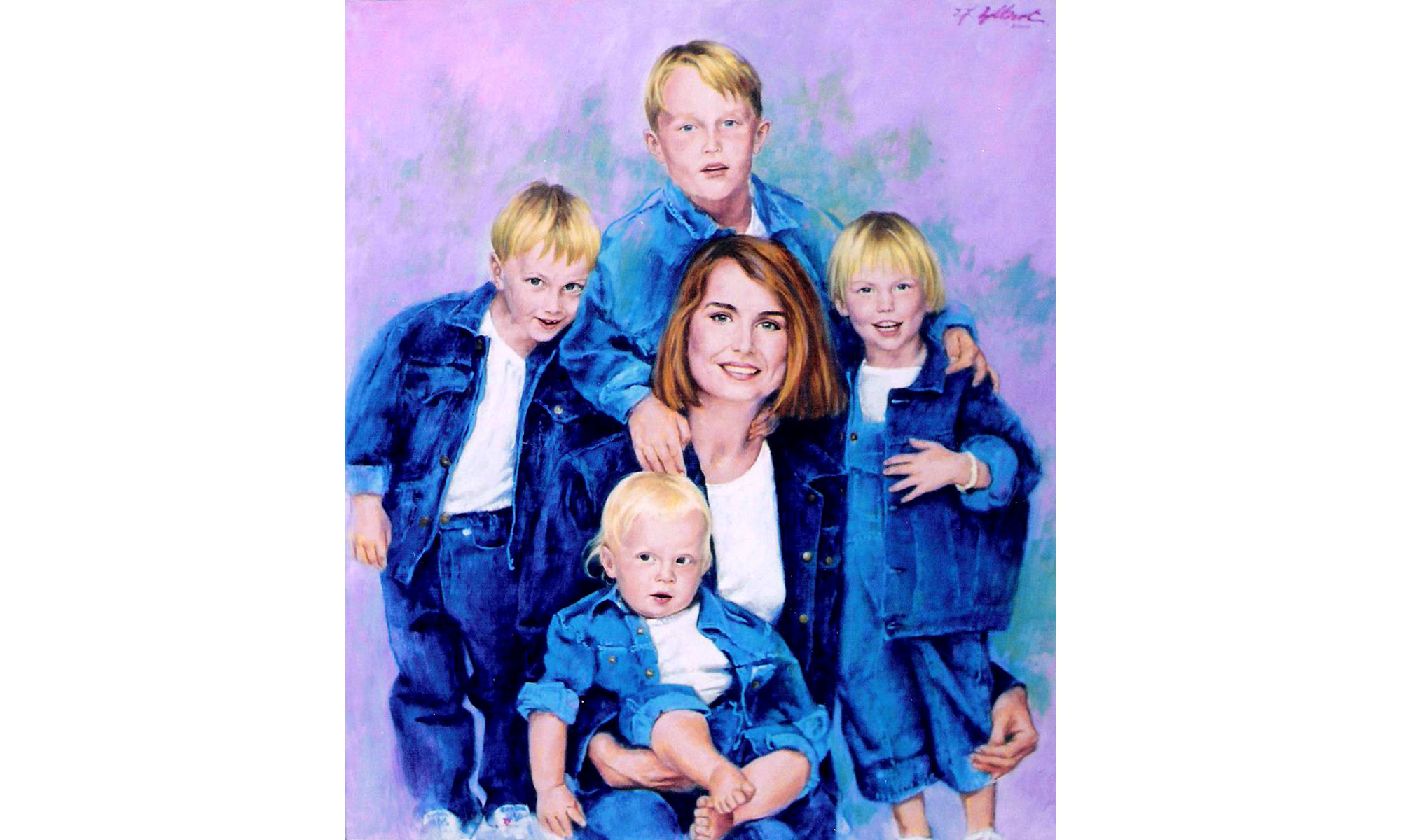 Mrs Frank Warren and Children Portrait Painting by Terence J Gilbert Oil on Canvas