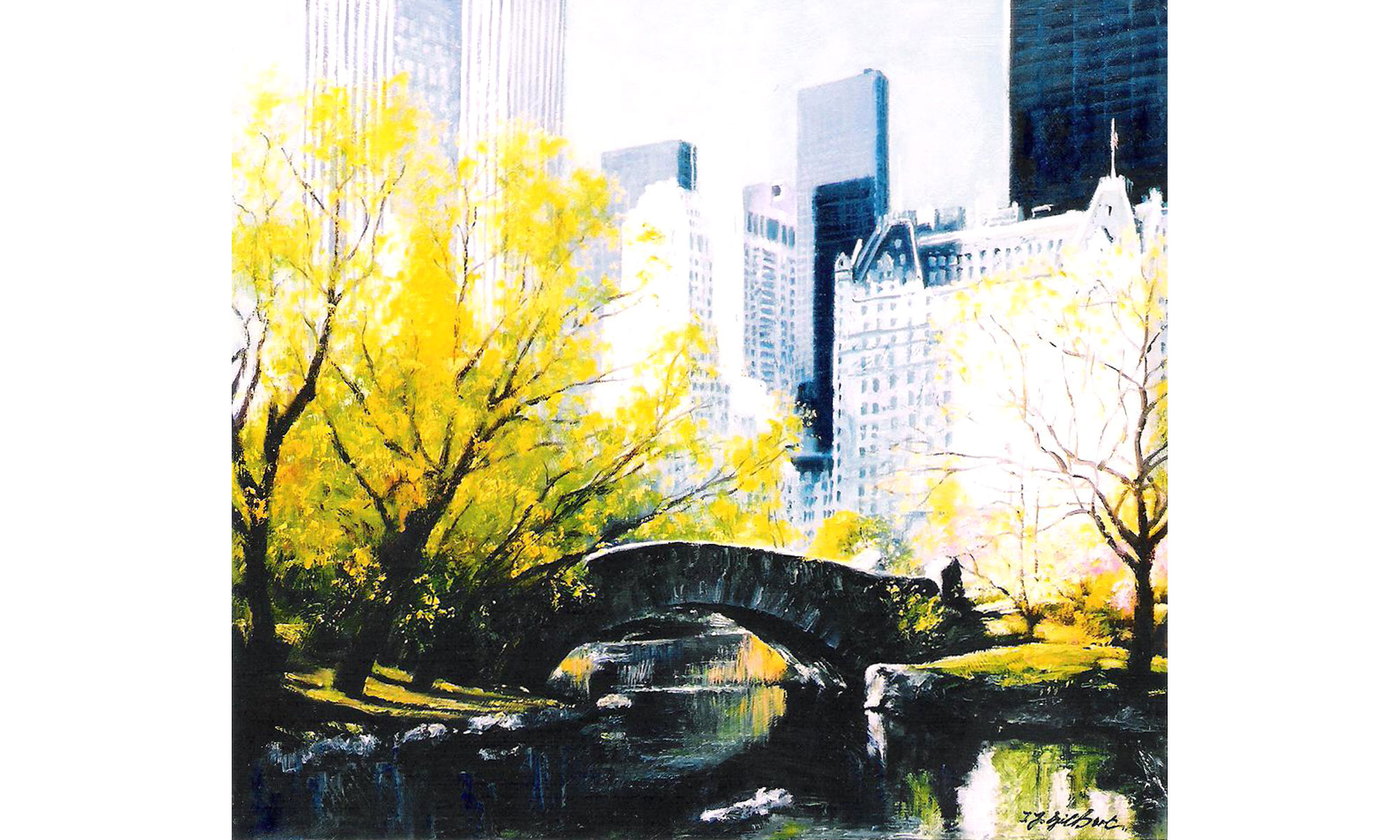 New York, from Central Park Painting by Terence J Gilbert Oil on Board