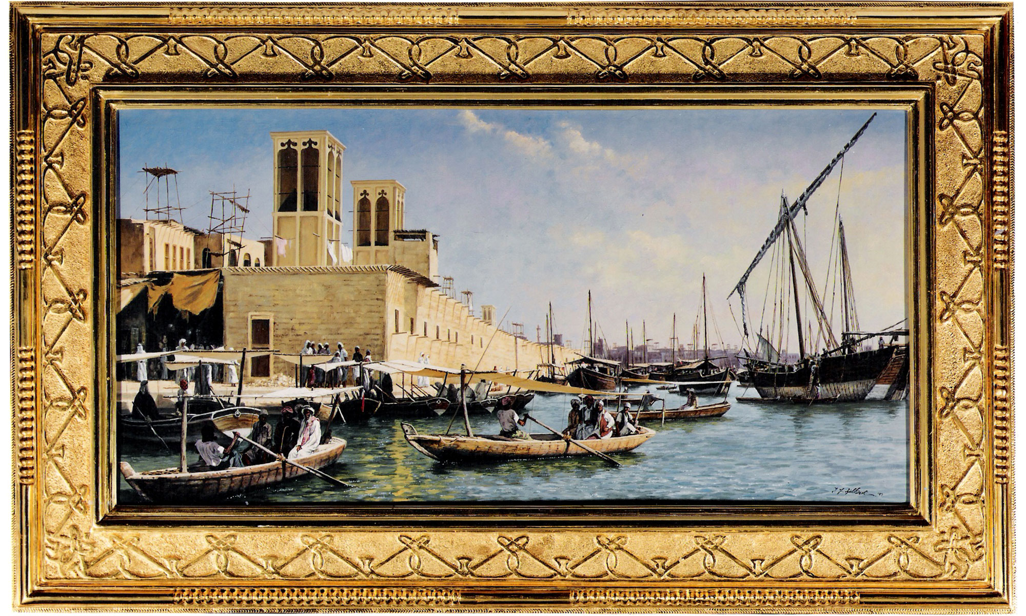 Old Dubia Painting by Terence J Gilbert Oil on Board