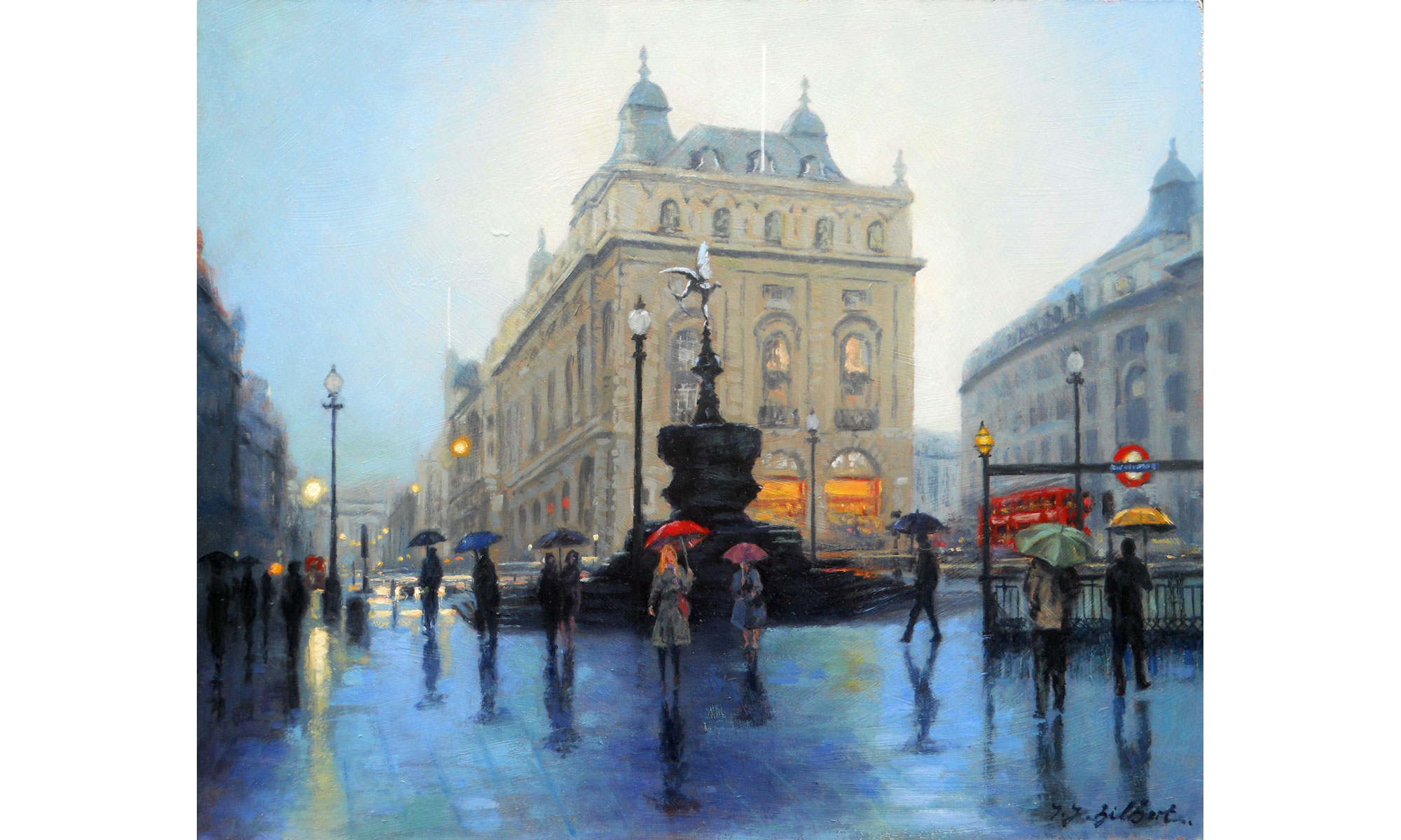 Piccadilly, Rain Painting by Terence J Gilbert Oil on Board