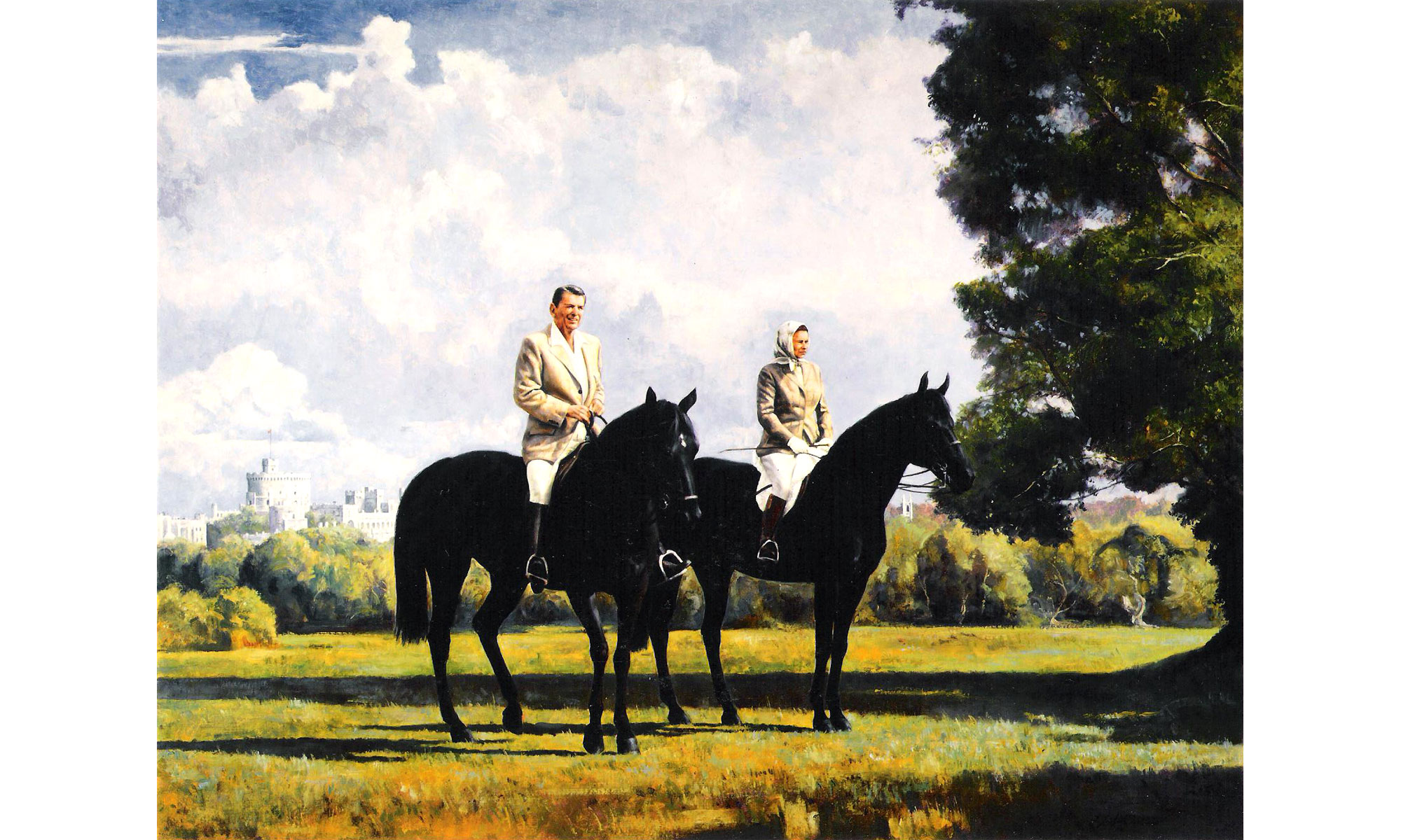 HM The Queen and President Reagan at Windsor Painting by Terence J Gilbert Oil on Canvas