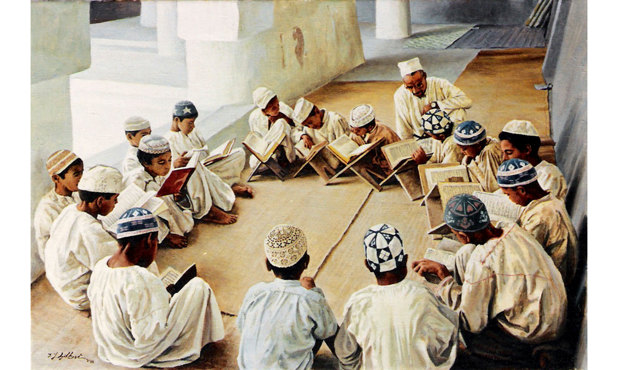 Reading The Koran Painting by Terence J Gilbert Oil on Board