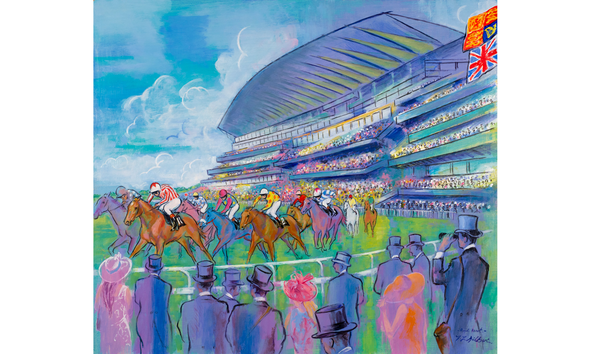Royal Ascot Horse Racing Painting by Terence J Gilbert Oil on Board