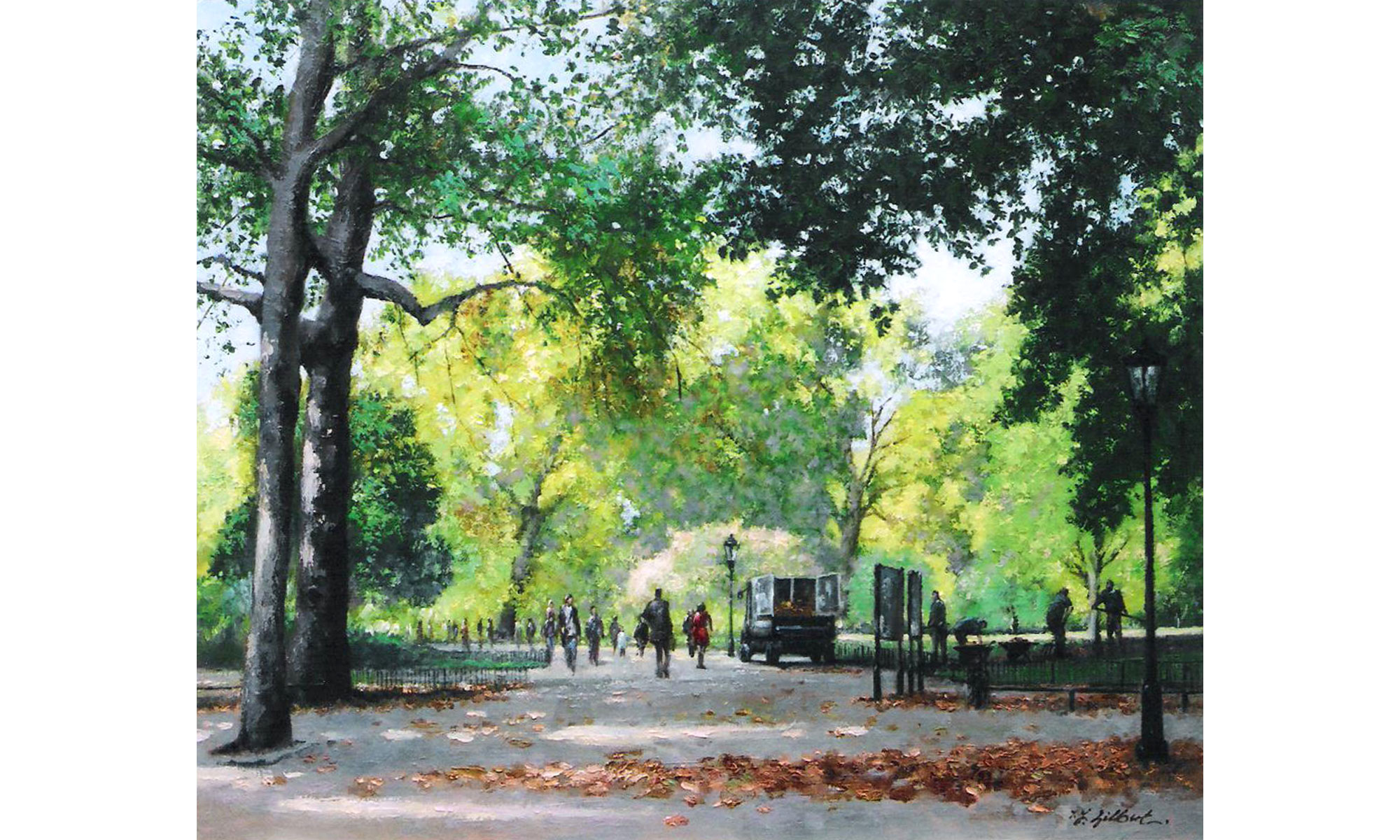 St James Park, Autumn Painting by Terence J Gilbert Oil on Canvas