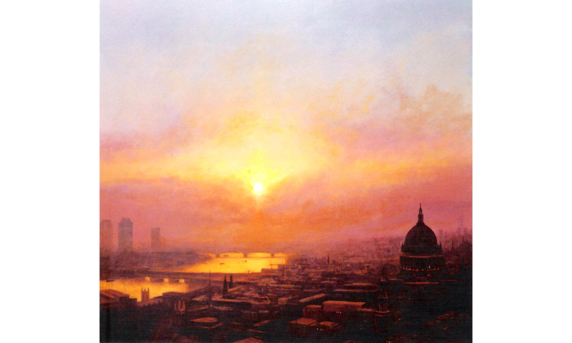 St Pauls Looking West Painting by Terence J Gilbert Oil on Board