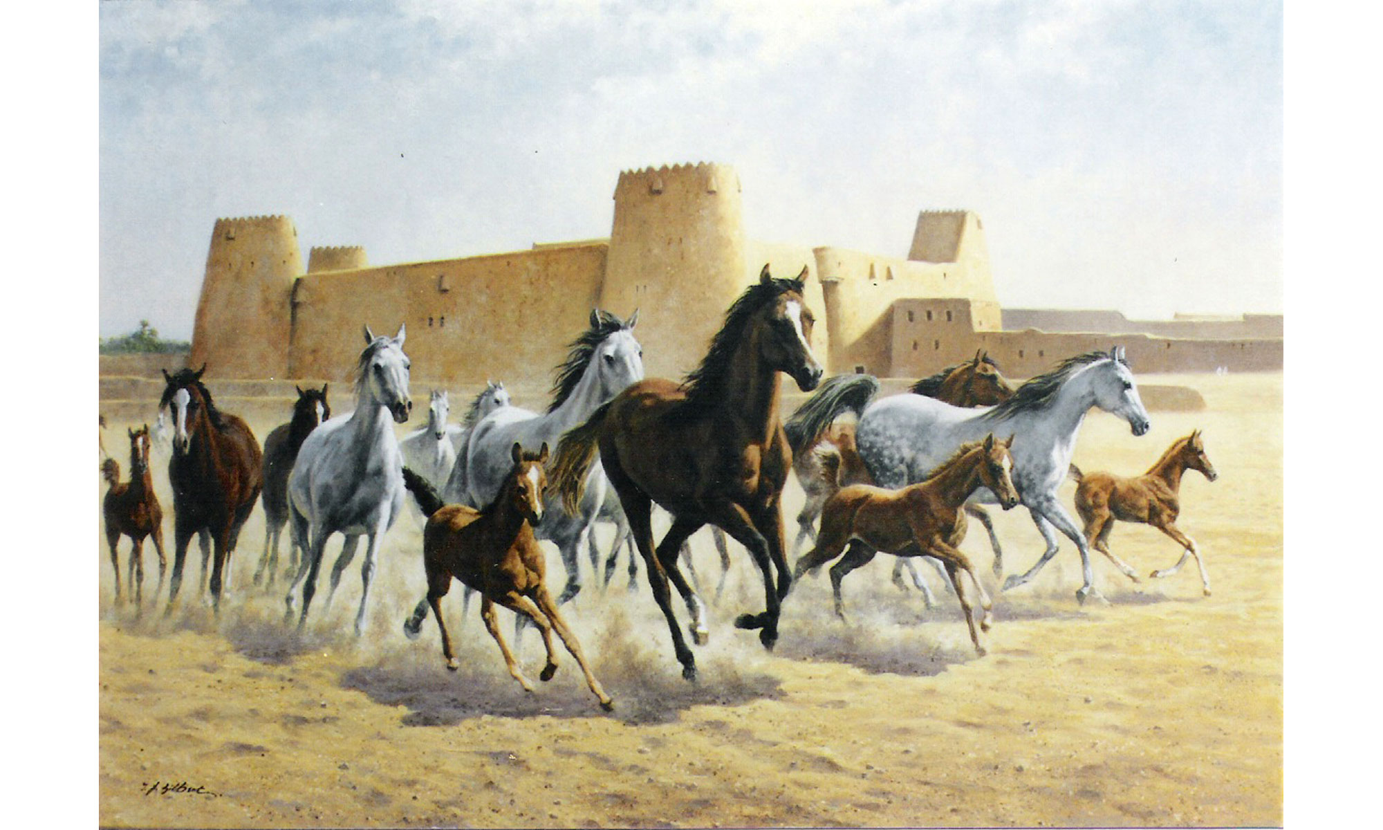 Stables at Hofuf Painting by Terence J Gilbert Oil on Board