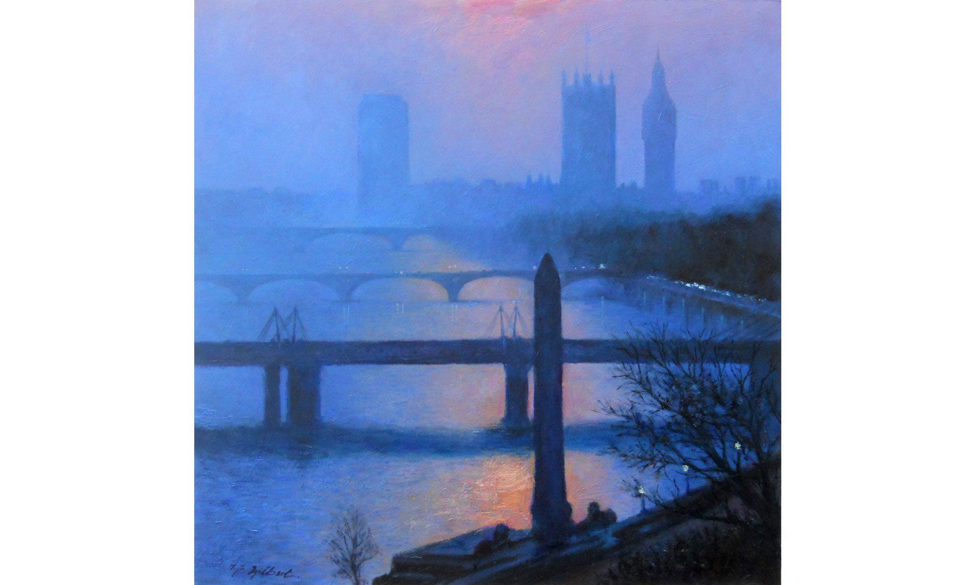 Towards Westminster, Evening Painting by Terence J Gilbert Oil on Board