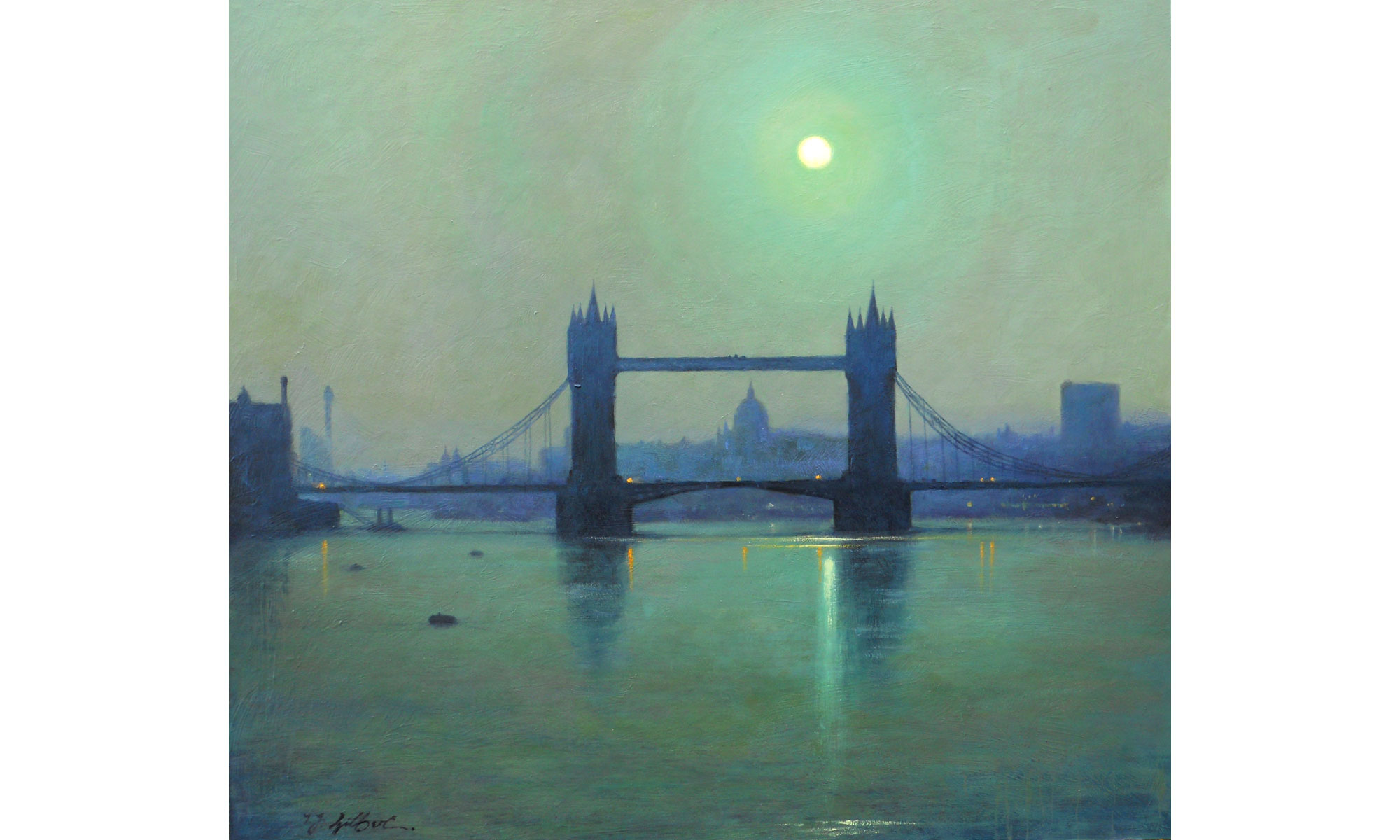 Tower Bridge, Moonlight Painting by Terence J Gilbert Oil on Board