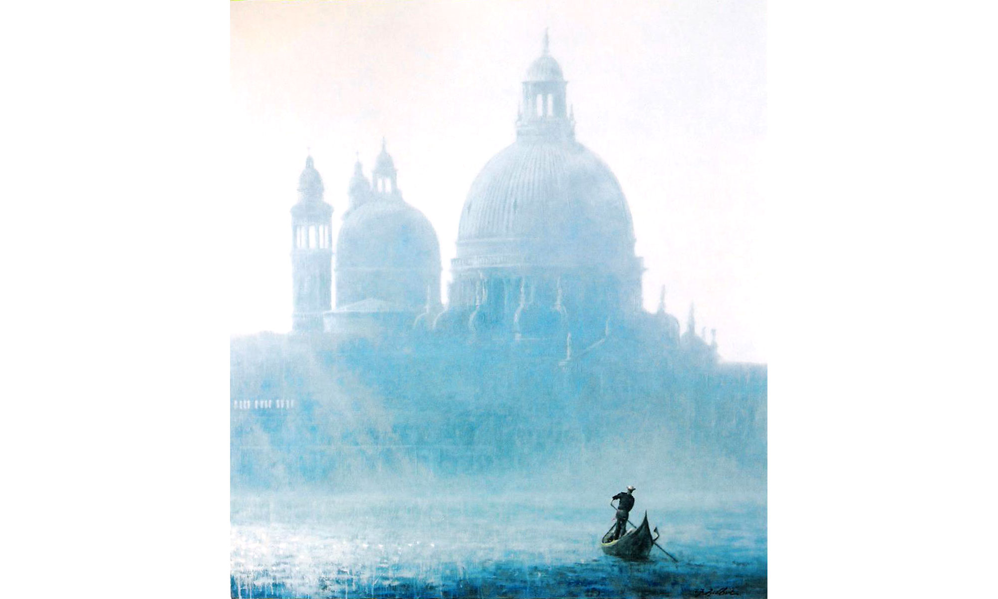 Venice Morning Mist Painting by Terence J Gilbert Oil on Board
